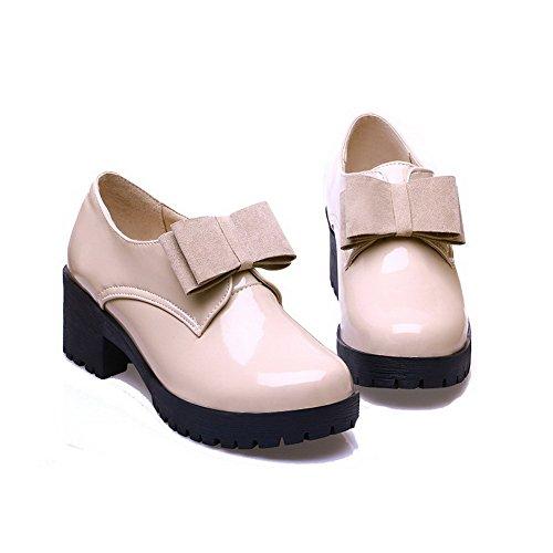 AllhqFashion Femme Pu Cuir à Talon Correct Rond Couleur Unie Tire Chaussures Légeres Beige