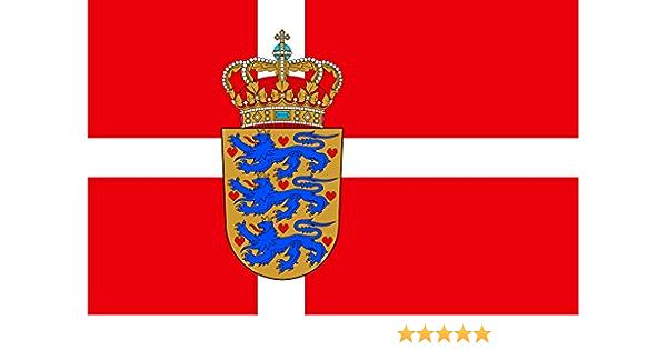 Premium Aufkleber 8 4x5 4 Cm Fahne Flagge Von Dänemark Mit Wappen Sticker Auto Motorrad Bike Autoaufkleber Küche Haushalt