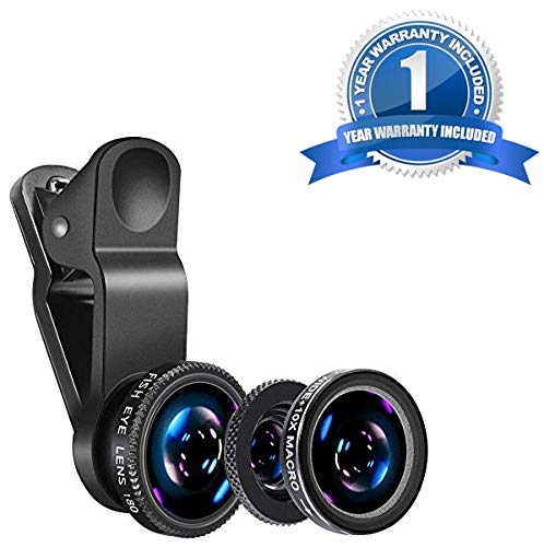 Shaarq 3 in 1 Clip-On 180 Degree Supreme Fisheye Lens + 0.65X Wide Angle Lens + 10X Macro Lens for iPhone 7/6s/6s Plus/5/5S/SE/4 HTC Huawei and Other Smartphone