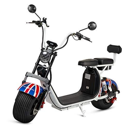 Moto Citycoco, Guardabarros color England, Motor 1000W, Velocidad 45-60km/h, Autonomía 45-55km, 2 baterias extraíbles, doble asiento, Luz LED, Pantalla LCD y Retrovisores. Ideal para paseos urbanos.
