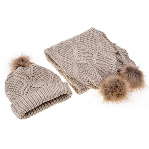 LIGHTBLUE Fashion Strickmütze Schal Set horizontal und vertikal gestreiften Hut Schal Set Hair Ball Hut Schal für Reisen, Khaki (Gestreiften Vertikale Schal)