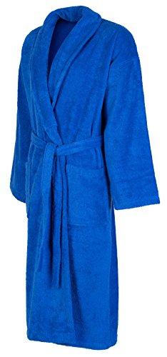 John Christian - Luxuriöser Morgenmantel/Bademantel aus reiner Baumwolle (Frottee) mit Schalkragen - Azurblau Azurblau