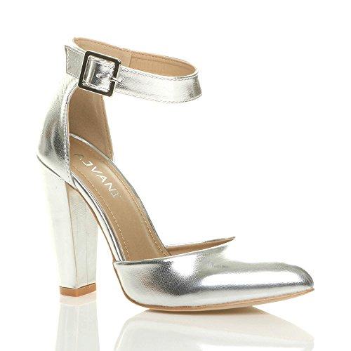 b7de049f64699 Argent Pointure Large Haute Boucle Lanière Talon Pointu Métallique Femmes  Escarpins Ajvani Chaussures Z6qAwvW