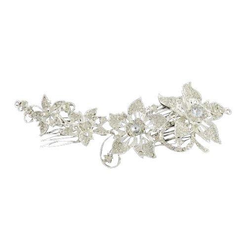 Pandahall,tocado de novia para boda,peine de flor de la aleacion del diamante de imitacion para el cabello decorativo, con peines de hierro, plata, cristal, 200x66 mm