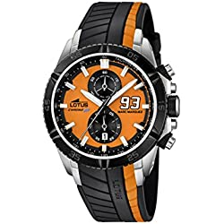 Lotus Marc Marquez Collection 2014 Men's Quartz Watch with Orange Dial Chronograph Display and Black Rubber Strap 18103/1