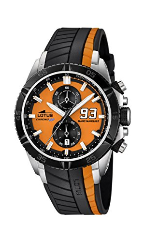 Lotus Marc Marquez Collection 2014 Men's Quartz Watch with Orange Dial Chronograph Display and Black Rubber Strap 18103/1