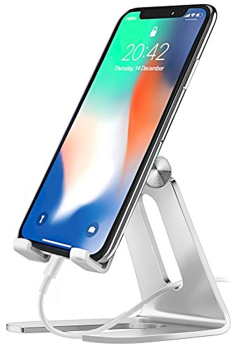 Bovon Handy Halterung Tablet Ständer, Multi-Winkel Handy Ständer Universal Verstellbarer Phone Stand, Handyhalter für 4-7.9 Zoll Smartphones, Tablet und E-Reader (Silber) (Schmücken Meinem Schreibtisch)
