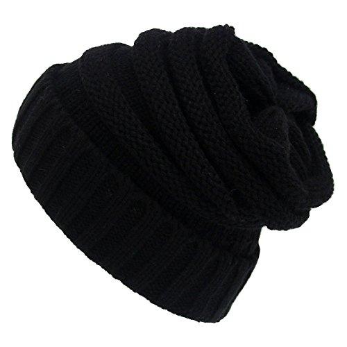 Eizur Donne Lavorato a Maglia Cappello Tessono Inverno Caldo Berretto di Lana Beanie Hat Baggy Crochet Cap Slouch Cuffia - Nero