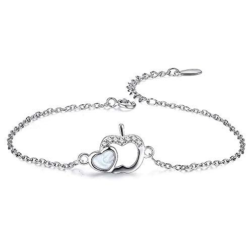Uloveido Lehrer Charms White Apple Armband, simulierte Mondstein Liebe Herz Link Manschette Armband, Lehrer Geschenke mit Box Y509 (White) (Manschette Mondstein Armband)