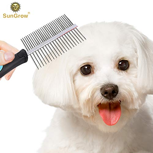 Dual Sided Flea Comb --- Removes Eggs, Dandruff, Flakes, Ticks - Fur Detangling & Grooming Tool - Rounded Stainless Steel Teeth - Safe & Fine Pins prevent scratching - Ideal for Dog & Cat Breeds