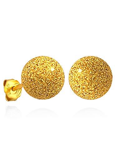 SOFIA MILANI Damen-Ohrstecker Kugel Gehämmert 925 Silber (Silber vergoldet, 6.0mm) - 20405