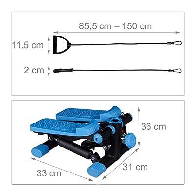 Relaxdays Stepper, verstellbarer Widerstand, mit Expander, Tacho und Schrittzähler HBT: 170 x 31 x 33 cm, schwarz-blau von DEBQH|#Relaxdays