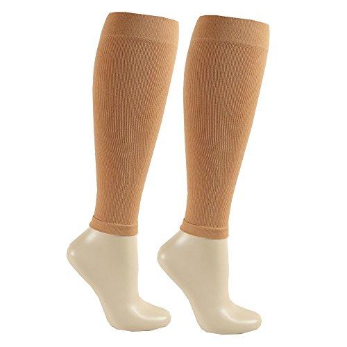 KoolFree Far Infrared Medical Grade Graduated Compression Strümpfe, Knie Hohe Kalb Sleeve Socken für Männer und Frauen, 23-32mmHg (X-Large, Beige) -