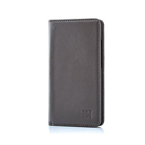 32nd Klassische Series - Leder Mappen Hülle Echtleder Case Cover für ZTE Blade L3, Entwurf gemacht Mit Kartensteckplatz, Magnetisch und Standfuß - Grau