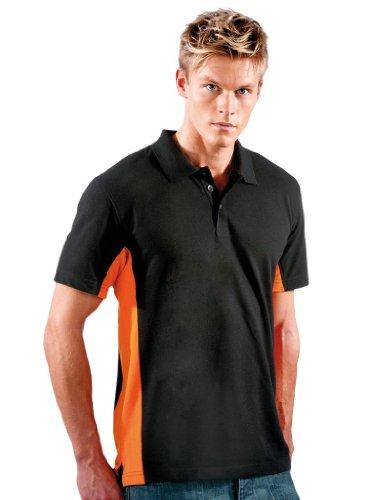 Poloshirt in Kontrastfarben Black/Orange