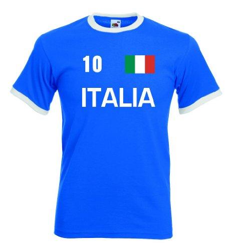 Italia / Italien Herren T-Shirt Retro Trikot Nr.10|royal L|KT16