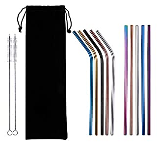 AMA Reusable Premium Quality Stainless Steel Multi-Coloured Drinking Straws 8.5 inch with 2 Cleaning Brushes and 1 Black Bag (10 Pack)