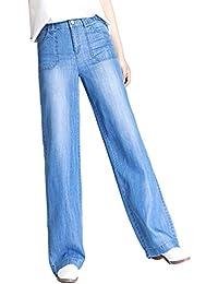 Xinwcanga Donna Jeans Vita Alta Pantaloni Lunghi Gamba Larga con Casual  Denim Pantalone 8beb9db2958