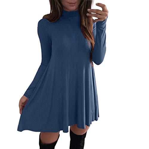ITISME StyleDome Damen Stricken Chiffon A-line Lace Quaste Beiläufigkeit Langarm Casual Jumper Mini Kleid Lose Pullover