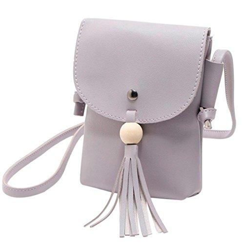 Donna fiocco pu spalla borsa coin borsa portacarte borsa messenger borsa di kangrunmy (grigio)