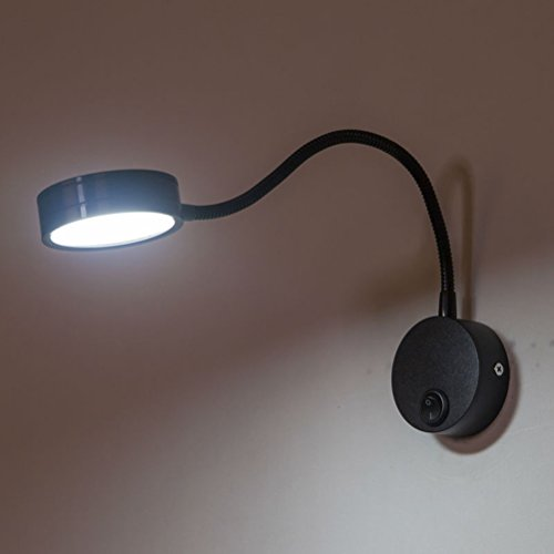 NUOLUX Câblage 3W Flexible col de cygne Led Wall Light lampe d'éclairage pour salle de bain chambre lecture avec lumière blanche (noir)