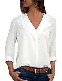 ce64e5889e2be GOSOPIN Womens Chiffon Blouses V Neck Long Roll Sleeve Tops Casual Solid  Color Tees