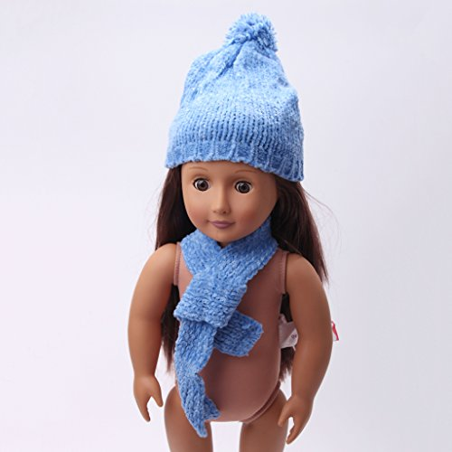 Schal American Doll Girl (Sharplace Handgemachte Gestreifter Puppen Winter Strickmütze + Schal Outfit Für 18'' American Girl Puppe)