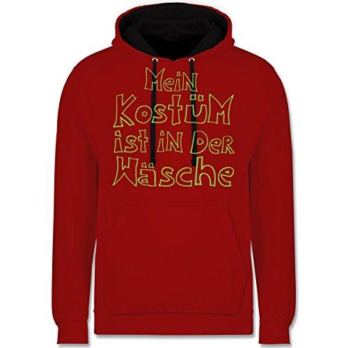 Shirtracer Karneval & Fasching - Mein Kostüm ist in der Wäsche - XS - Rot/Schwarz - JH003 - Kontrast Hoodie
