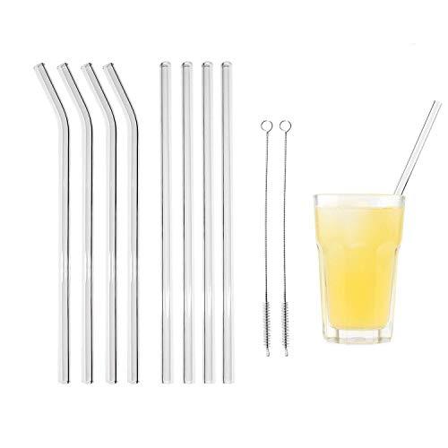 Heatigo glasstrohalme,strohhalm wiederverwendbar 8 Stück Glas strohhalm+2 Stück Reinigungsbürsten Geeignet für Cocktail Glas Smoothie Tee