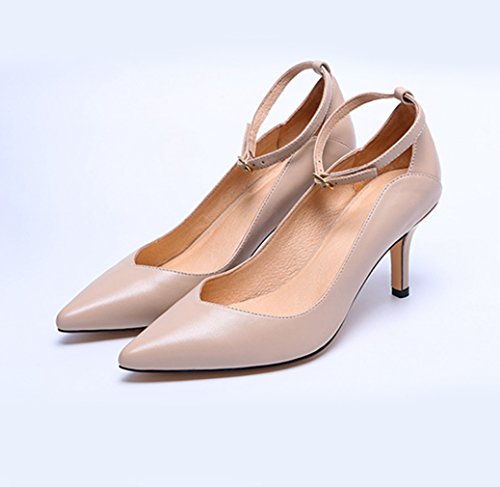 Damen Pumps Spitz Zehen Schnalle Knöchelriemchen Stilettos Atmungsaktiv Weich Elegant Büro Arbeitsschuhe Hautfarbe