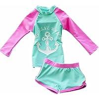 ZYZF Kid Chica Tankini Bikini bañadores Bañador de Manga Larga Rash Guard ...