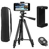 Trípode para Móvil (42'/106cm), PEYOU Trípode para iPhone, 3 en 1 Trípode Cámara de Aluminio Ligero + Obturador Remoto Bluetooth + Soporte de Teléfono para iPhone Samsung Huawei DSLR Canon Nikon Sony