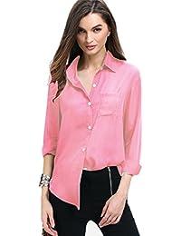 Camisa de mujer Lonshell - Blusa suelta de manga larga para mujer, blusa casual de