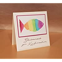 Glückwunschkarte zur Konfirmation o. Kommunion, Aquarell, Handarbeit