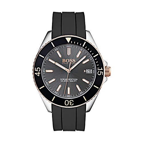 Hugo Boss Men's Time Only Watch with Black Rubber Strap