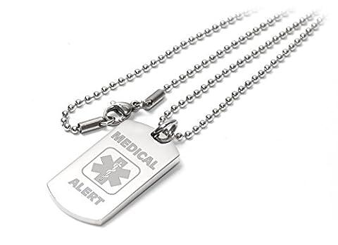 Personalised Medical Alert I-C-E / SOS Dog Tag Necklace /