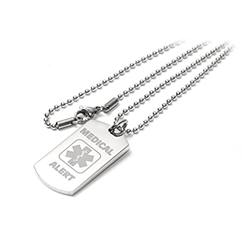 Medical necklace amazon personalised medical alert i c esos dog tag necklacependant engraved enter your custom text mozeypictures Images