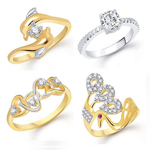 VK Jewels Gold Plated CZ Alloy American Diamond Combo Ring Set for Girls & Women [VKCOMBO1696G8]