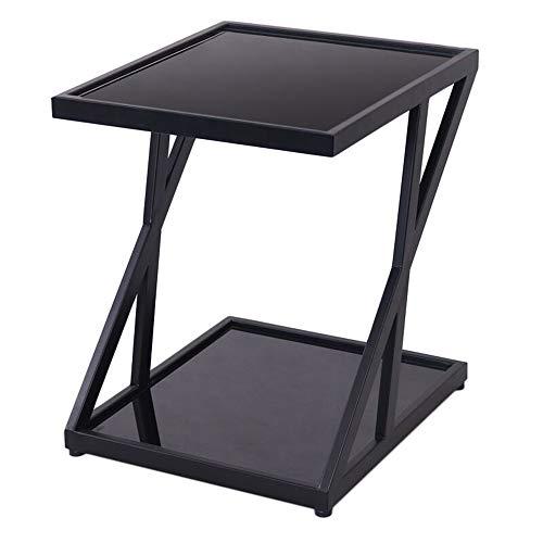ZHIRONG Gehärtetes Glas Beistelltisch Nordisch Modern Eisenkunst Sofa Tisch Kaffetisch Nachttisch Zum Wohnzimmer Schlafzimmer Balkon,17,7''x15,7''x19,6'' (Farbe : Schwarz) - Glas-modernen-sofa-tisch