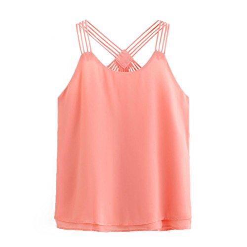 Tops Damen Sommer, Bekleidung Longra Damen Ärmellos Chiffon Crop Top Weste Tank Shirt Bluse Cami Top Pink