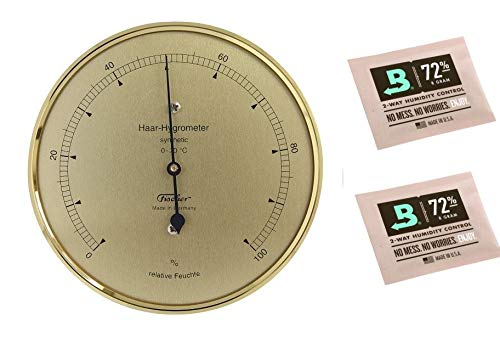 Lifestyle-Ambiente Fischer Haar-Hygrometer Synthetic messingfarben Made in Germany und 2 STK Calibration Kits