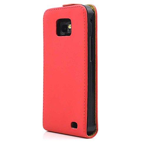 Hülle für Samsung i9100 Galaxy S2 - S II Flip Tasche Cover Case Schutz Etui Handytasche - Handyhülle - Schutzhülle in Rot
