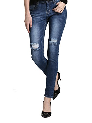 Alice & Elmer Damen Stretch Normaler Bund Ripped Löcher Slim Skinny Jeans Zerrissene Marie Vintages Blau 30W x 30L
