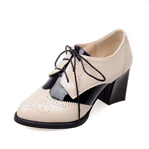 AgooLar Femme Pointu Lacet PU Cuir Couleurs Mélangées à Talon Haut Chaussures Légeres Beige