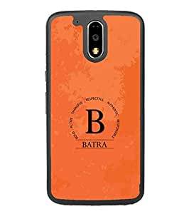 YuBingo Motorola Moto G4 :: Moto G (4th Gen) 2D Designer Phone Back Case Cover ( Monogram with Beautifully Written Surname Batra )