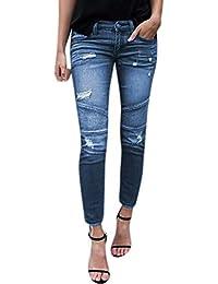OYOSHE Damen Spleißen Zerreißend Boyfriend Denim Jeans Mode Stretch Skinny Pants Hosen Strassenmode