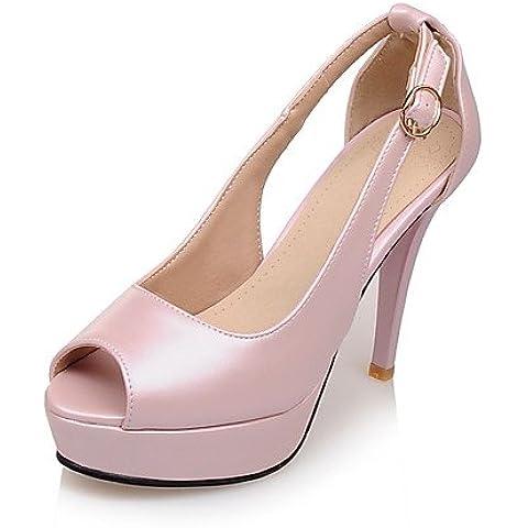 LvYuan-ggx de las mujeres zapatos de cuero de vaca / cuero botas / botas de gladiador / comodidad / de combate / Novedad / estilos gruesos / dedo del , pink-us8 / eu39 / uk6 / cn39 , pink-us8 / eu39 / uk6 / cn39