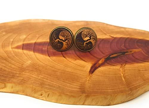 SOULSLICES Handgemachte Ohrstecker Yin Yang Lebensbaum oder Ohrringe aus Holz - Hippy - BoHo - Freizeit - Holzschmuck - Party - Lifestyle - Yoga
