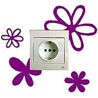 Vinilo decorativo pegatina pared, para interruptor o enchufe, flores