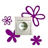 Vinilo decorativo pegatina pared, para interruptor o enchufe, flores